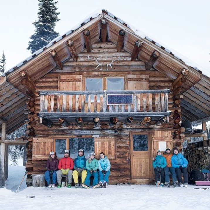 Group in front of lodge - FindALodge - IG Wall - Mar 11 2018