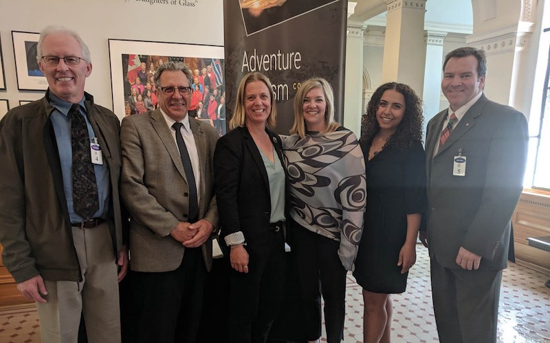 Pictured left to right during national tourism week in Victoria: Brad Harrison (chair of the ATC); Scott Benton of the Wilderness Tourism Association of BC; Kathy MacRae of the Commercial Bear Viewing Association; Tracy Eyssens and Mary Gerges of Indigenous Tourism BC; and Christopher Nicolson of Canada West Ski Areas Association